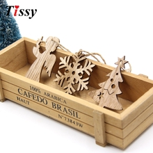 10PCS Christmas Wooden Pendant Snowflakes&Deer&Tree Ornaments Xmas Tree Ornaments Christmas/Wedding Party Decorations Kids Gifts