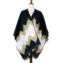 все цены на sleeves poncho capes women cashmere winter shawl woven jacquard shawls capes stole 440g black poncho horn button