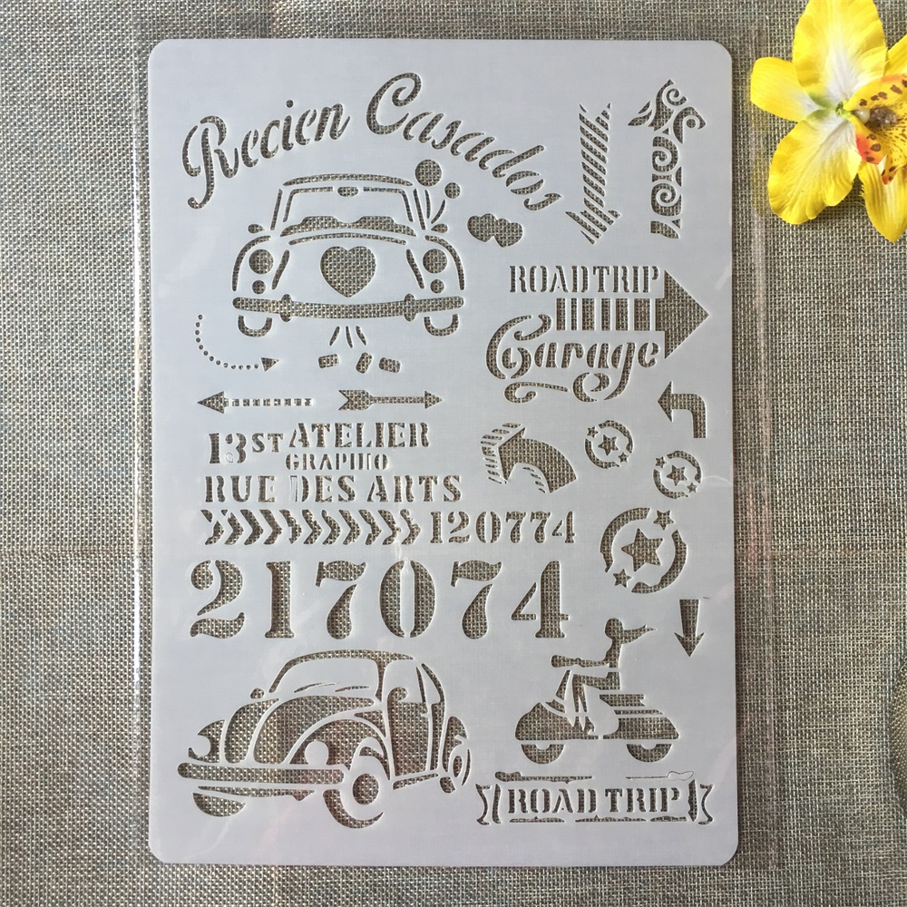 1Pcs A4 Road Trip Car License Plate DIY Craft Layering Stencils Painting Scrapbooking Stamping Embossing Album Card Template
