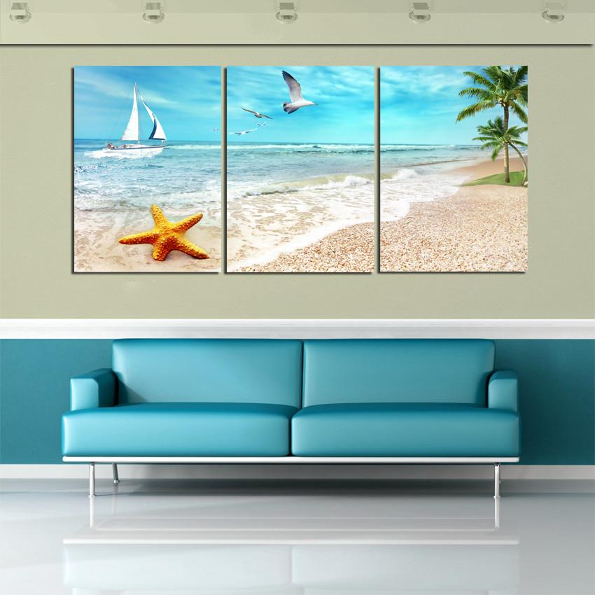 3 Piece Canvas Wall Art Sea Waves Paintings Beach Pictures For Living Room In Painting Calligraphy From Home Garden
