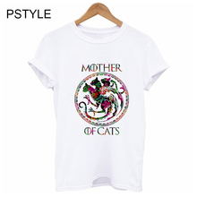 Mother of Cats T-shirts for Women Summer Short Sleeve Tee Tops Print Flowers Dracarys Dragon Vogue Aesthetic Gothic White