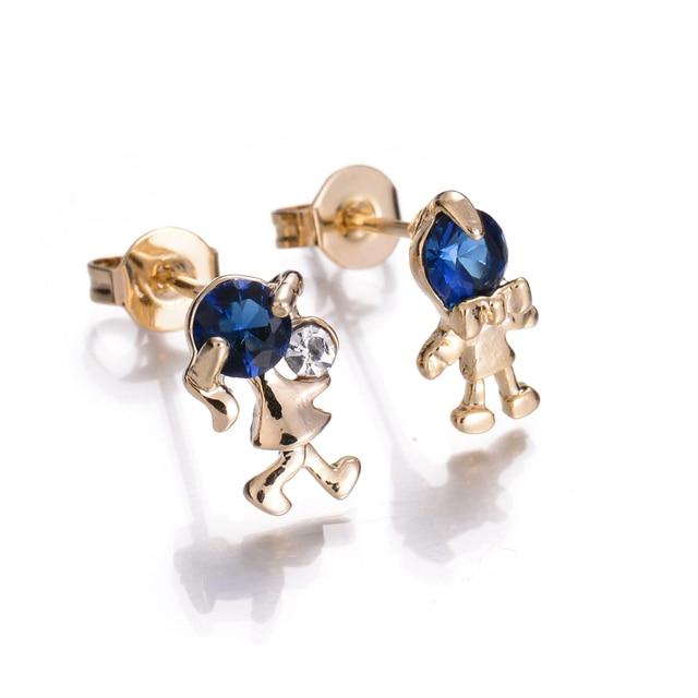 Small Cz Diamond Earrings For Women Yellow Gold Plated Cute Figure Stud Costume Jewelry Las