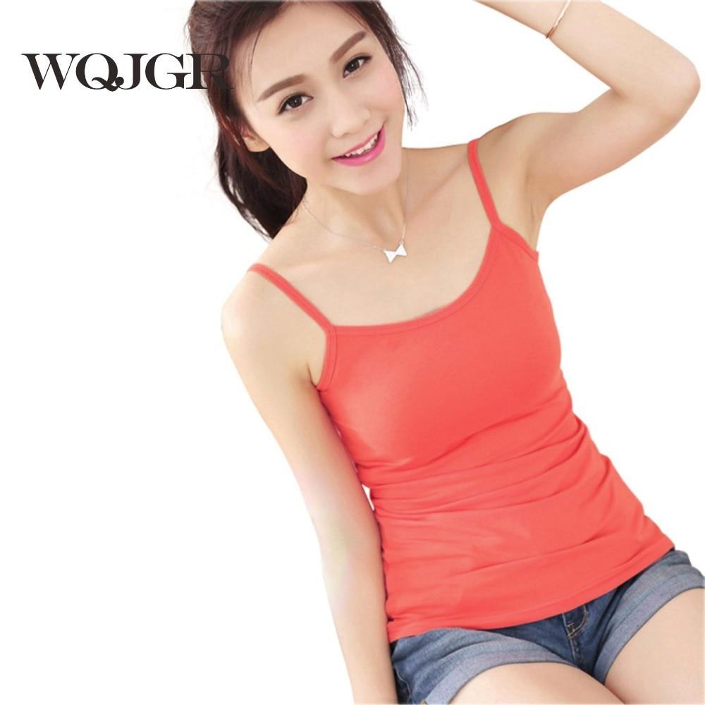 WQJGR   Tank     Top   Women Vest Cotton New Lady Rendering Large Code All-match Slim Slim Sleeveless Bottoming Shirt Crop   Top