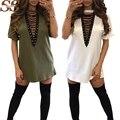 2017 Sparshine Verão Cor Sólida V-neck Mulheres Vestido Longo Elegante Camisa Blusa Mulheres Do Vintage Sexy Roupas Casuais Clássico