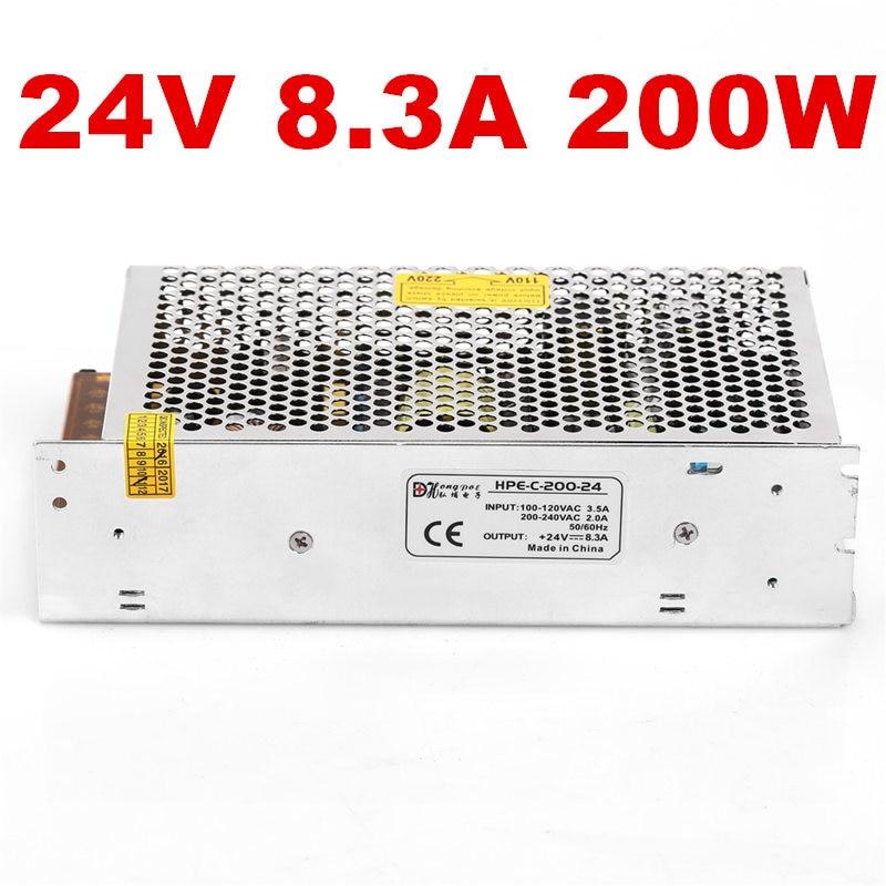 1PCS AC-DC 200W 24V power supply 24V 8.3A 200W 100-240VAC LED5050 3520 S-200-24 1pcs ac dc 200w 24v power supply 24v 8 3a 200w 100 240vac led5050 3520 s 200 24
