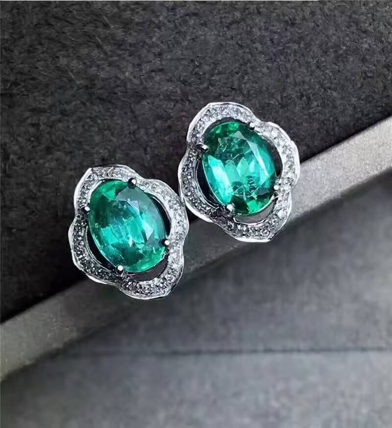 Natural green emerald stud earrings 925 silver natural gemstone earrings fashion Elegant round women party fine Earrings jewelry copper jewelry leopard head hanging pearl stud earrings tiger head green rhinestone black stud earrings for women