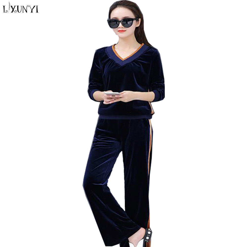 Pièces Survêtement Taille pourpre Femme Deux Sueur Lxunyi blue bourgogne Capuche Décontracté Ensembles Ensemble Costume Coffee Dark Printemps En 2 Mode Large Velours Bas Grande Femmes noir À Pantalon XpqdZ
