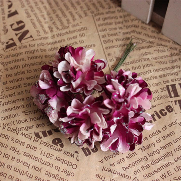 4CM Artificial Small Mulberry Paper Carnations Bouquet,DIY Crafts Decoration For Garland Hair,Wedding Candy Box,Scrapbooking