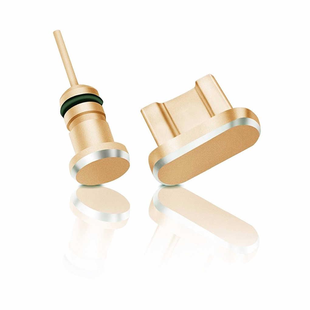 2 sztuk metalowe Port ładowania + 3.5mm Port słuchawkowy pyłu wtyczka wymienna dla systemu Android na iPhone dla typu C telefon komórkowy