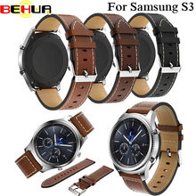 Watch Band 22mm Genuine Leather Strap for Samsung Gear S3 Classic Frontier Straps with Steel Buckle Wrist Bracelet Brown Black(China)