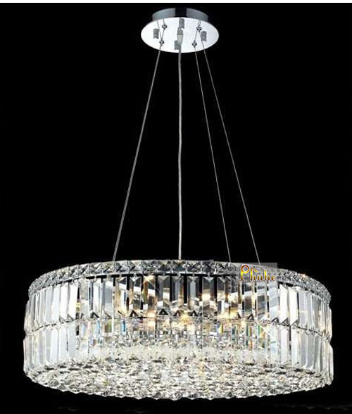 Modern Crystal Pendant Light Lighting Chrome Crystal