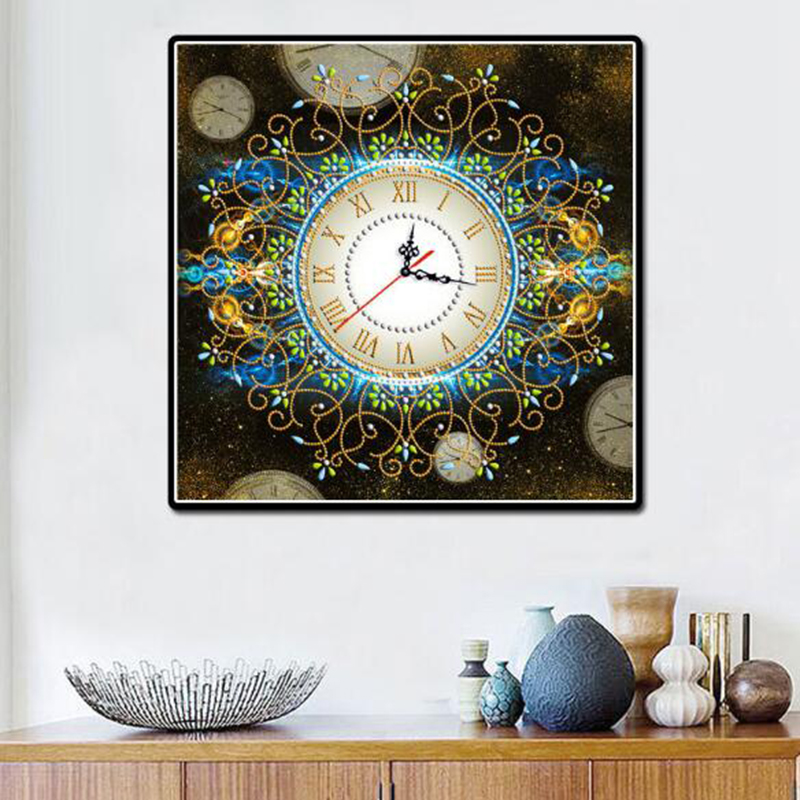 3D Special Shaped Diamond Embroidery Frower Wall Clock 5D Diamond Painting Cross Stitch Watch Diamond Mosaic Decor A15