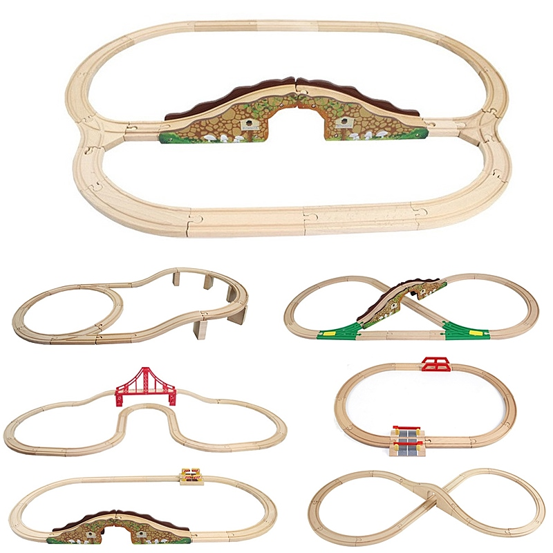 8 Styles Wooden Train Track Set Thomas Friends Railway Toy Wood Track Accessories Expansion Wooden Track Rails Trains Road Toys thomas wooden train track railway accessories toy luxury train station 3 doors garage parking house train station