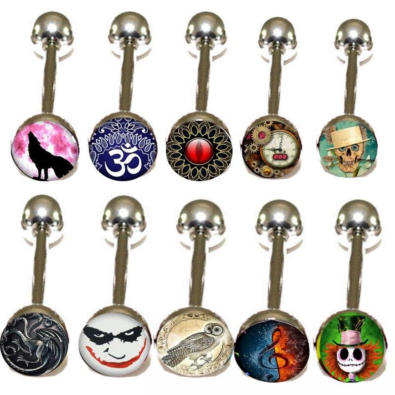 Lot of 300Pcs 14G Metal Tongue Studs Steel Bars Barbells Funny Nasty Wording wolf skull 10 Logo Ear Plug