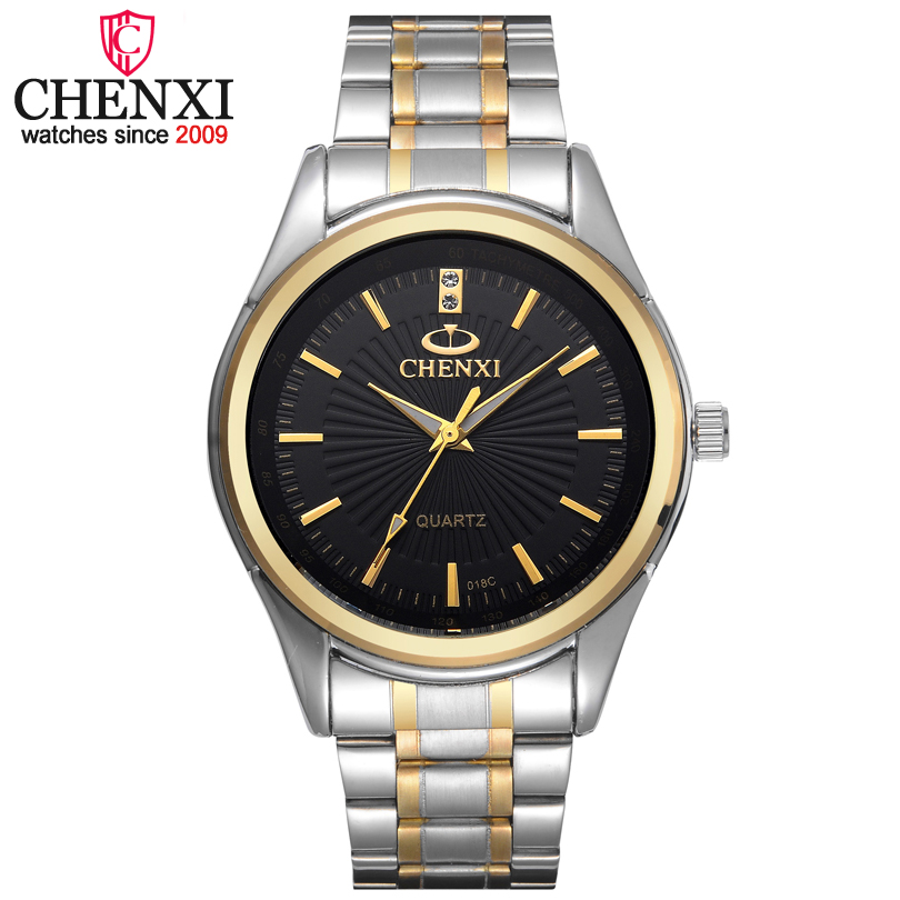 CHENXI Brand Fashion Luxury Watch Men Casual Stainless Steel Gold Gift Clock Quartz Male Wristwatch  Relogios Masculinos Famosas fashion black full steel men casual quartz watch men clock male military wristwatch gift relojes hombre crrju brand women watch