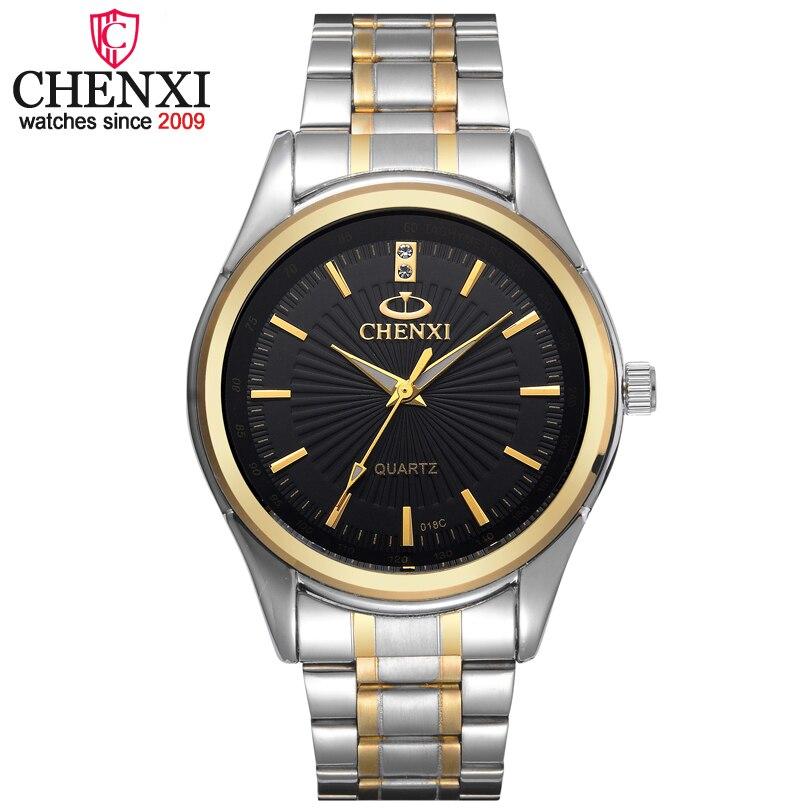 CHENXI Marque De Mode montre de luxe Hommes décontracté acier inoxydable Or horloge cadeau Quartz Mâle montre Masculinos Famosas
