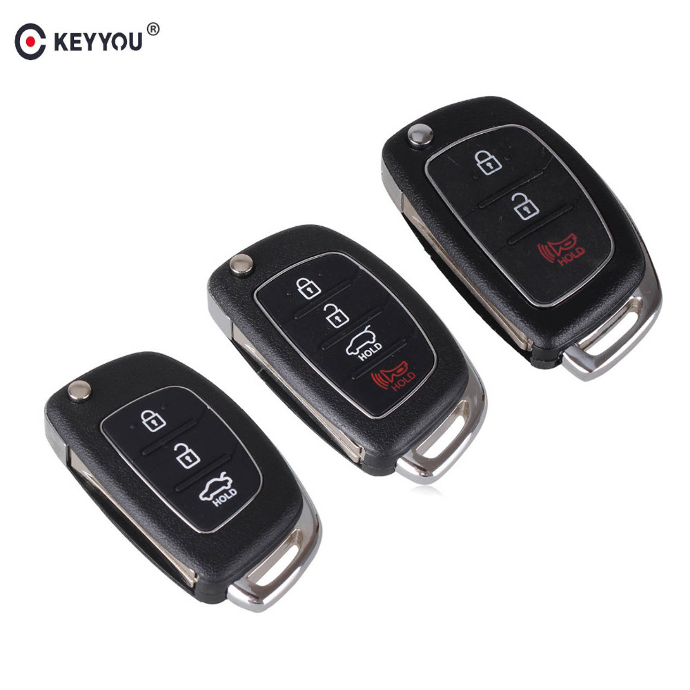 KEYYOU Remote Key Case Fob 3 Button Flip Folding Car Key Shell For Mistra Hyundai HB20 SANTA FE IX35 IX45 Accent I40 Solaris(China)