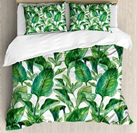 Leaf Duvet Cover Set Romantic Holiday Island Hawaiian Banana Trees Watercolored Image, Decorative 4 Piece Bedding Set