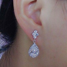 European and American fashion water droplets earrings Micro Pave CZ