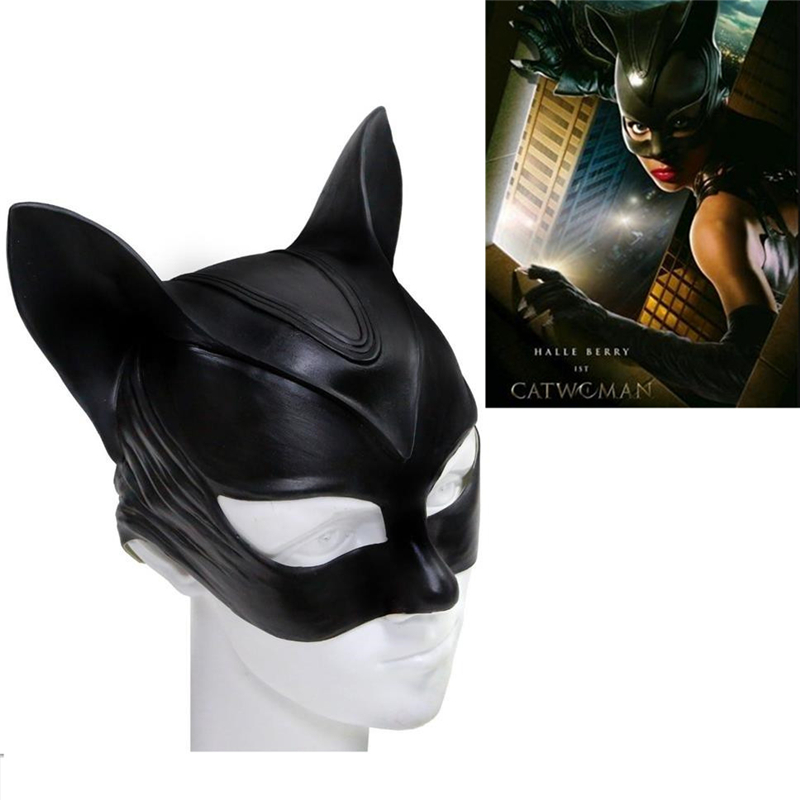 Anime Movie Catwoman Batman Cosplay Mask Selina Kyle Latex Mask Helmet Adult Fancy Ball Props Cosplay Mask Accessories
