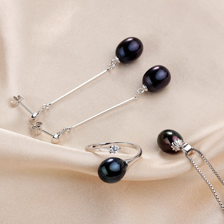 2019 Hot selling Black Pearl Jewelry sets Fashion 925 sterling silver jewelry for women wedding party 2019 Hot selling Black Pearl Jewelry sets Fashion 925 sterling silver jewelry for women wedding/party jewelry Lowest Price