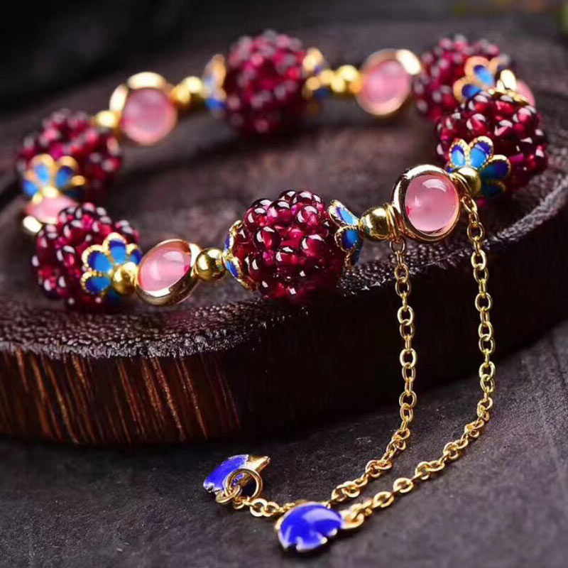 Gemstone Natural Garnet Stones Charm Bracelete For Women Handmade Pink  Purple Yellow Crystal Beads Fine Jewelry Creative Gifts