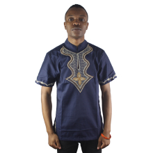 Africa Navy Blue Lotus Embroidery Men`s Formal Ethnic Tops Solid Short Sleeved Caftan Shirts For Summer Wearing цена