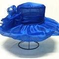 2016 nueva europa acoplamiento de la flor grande de ala ancha del sombrero Kentucky Derby sombreros para mujer las señoras