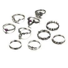 SHUANGR Vintage 10 PCS/Set Silver Color Midi Rings Set For Women Flower Shape Unique Design Bohemian Jewelry Party Accessories