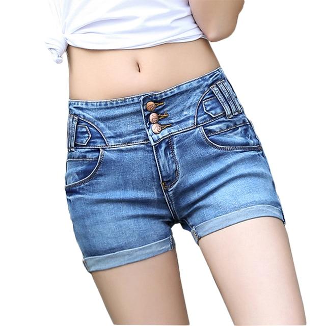 48efba9425 High Waist Shorts Women Denim Shorts Femme 2017 Women Summer Casual Jeans  Shorts Hot Bermuda Feminina Plus Size