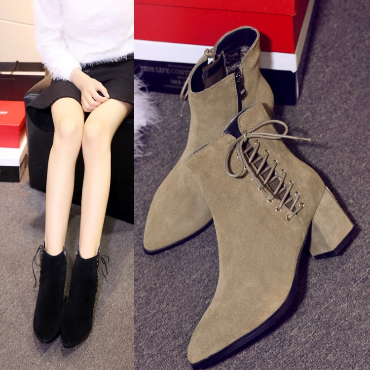 ФОТО 34-39 Women's boots 2016 fashion casual breathable cow suede boots pointed