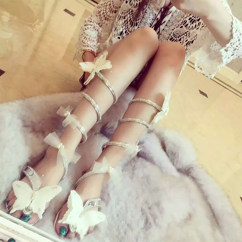 Women Butterfly high heels bow-knot crystal shoes Women Gladiator Sandal women Boots Snake Flats shoes woman plus size hongyi women motorcycle biker ankle boots glossy leather rhinestone crystal ridding bootie bow butterfly knot shoes thick heels