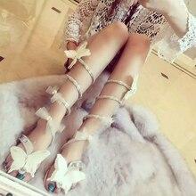 Купить с кэшбэком women shoes high heels bow-knot crystal shoes Women Gladiator Sandal women Boots Snake Flats shoes woman plus size 34-46