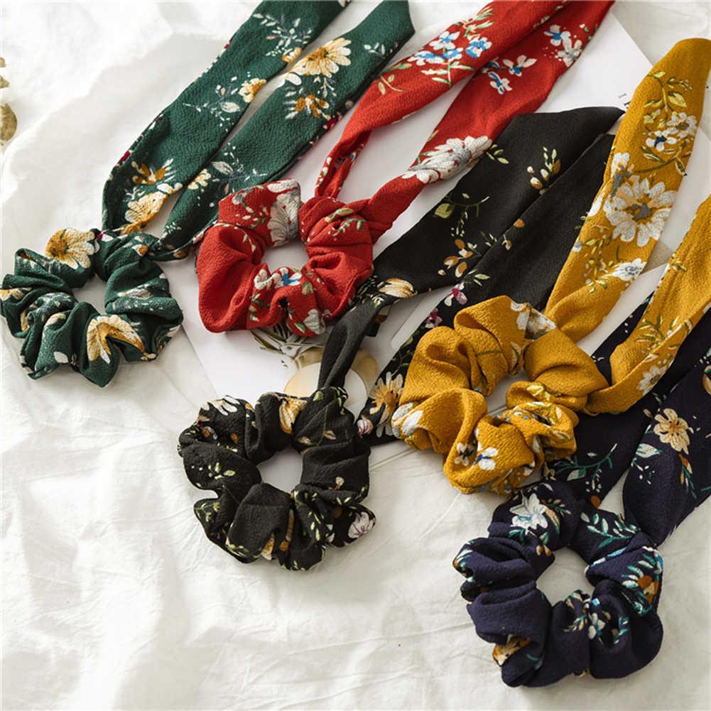 Floral Print Elastische Knoten Band Scrunchies Frauen Vintage Großen Bogen Stoff Haar Krawatten Mädchen Satin Haar Zubehör Weiche Haar Bands