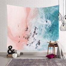 Морской пейзаж розовый синий Пляж океан гобелен настенный Мандала природа богемный психоделический настенный гобелен настенный ковер шаль одеяло
