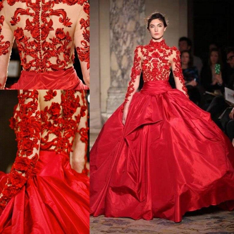 Col haut Rouge Quinceanera robe de soirée 2018 Robes De Bal Appliques Doux 16 Robe De Débutante