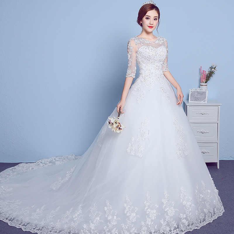 549a09e44a658b7 Половина рукава свадебное платье со шлейфом 2018 Простой Большой размеры  бальное свадебное кружевное китайское платье Свадебные