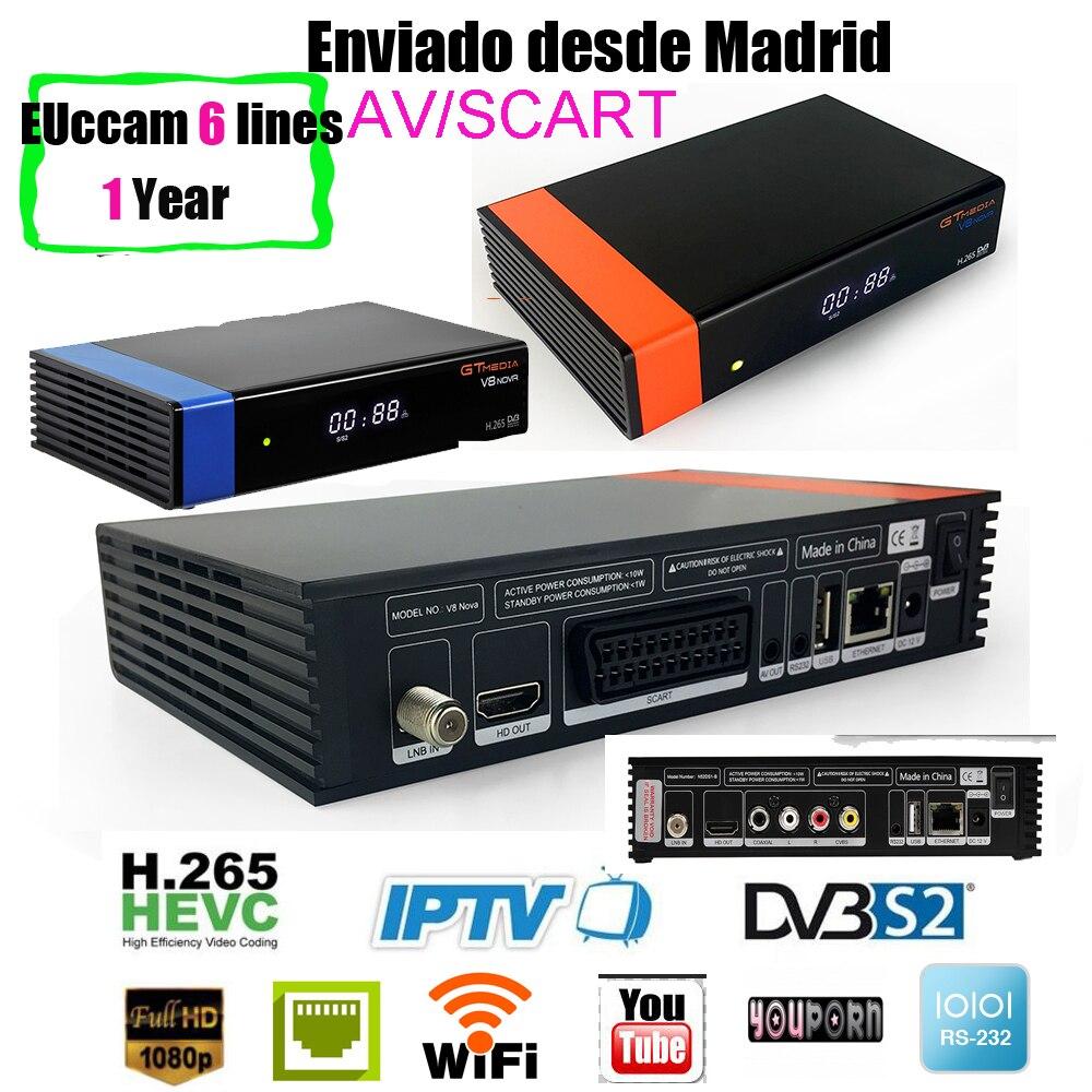 Gtmedia V8 NOVA+1 year ccam same as gt media v8 nova vs freesat v8 super hevc satellite receiver Builtin wifi support H.265 AVS v8