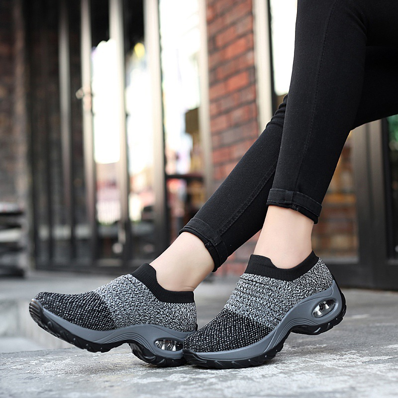 Women Casual Shoes Fashion Women Sneakers Summer Breathable Mesh Air Cushion Walking Shoes Lace Up Flat Shoes Plus Size 35-42