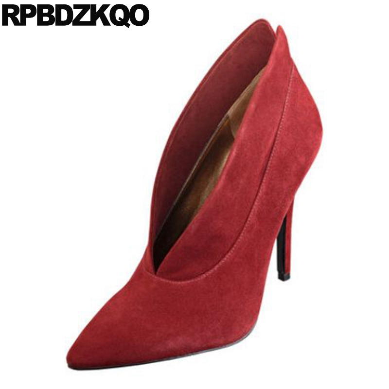 Pumps 2017 Wine Red Fashion Shoes Luxury Women Pointed Toe Size 4 34 Scarpin Genuine Leather High Quality Top Suede 3 Inch Heels