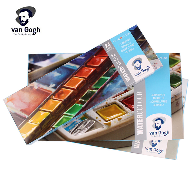Sakura Watercolor VAN GOGH Blocky Solid Watercolor 12/15/18/24 Colors Pigment Tubular Watercolor Painting Art Set sakura watercolor 12 15 18 colors 12ml pigment translucent easy to wash additional gold silver color yellow box art set