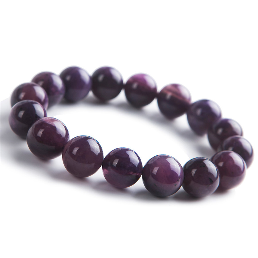 13mm Natural Genuine Charoite Stretch Bracelets For Women Purple Crystal Charm Round Bead Bracelet genuine yellow natural quartz crystal bracelets for women mens pixiu transparent charm stretch round bead bracelet