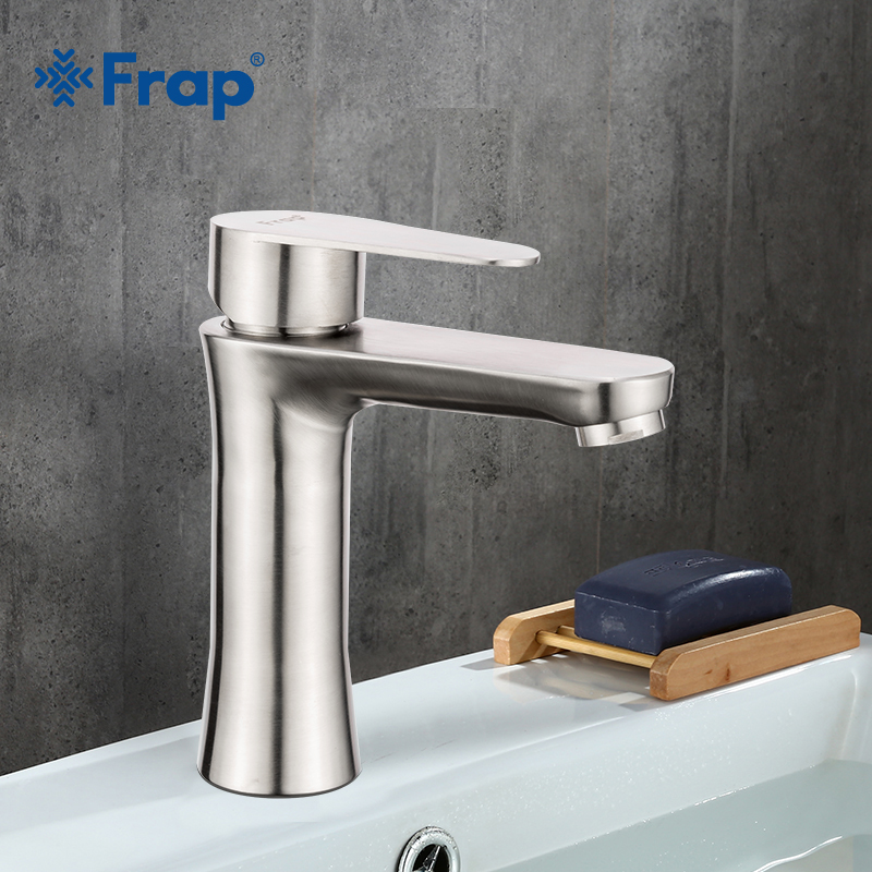 Frap 304 Stainless Steel Tap Brushed Basin Faucet Torneiras Monocomando Vanity Hot and Cold Water Mixer Bathroom Faucets F1048Frap 304 Stainless Steel Tap Brushed Basin Faucet Torneiras Monocomando Vanity Hot and Cold Water Mixer Bathroom Faucets F1048