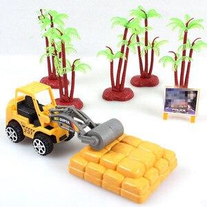 Image 3 - 1PC Carino Mini Auto Giocattoli Diecast Veicolo Costruzione Bulldozer Escavatore Ingegneria Del Veicolo Kit Per Bambini Mini Auto Ingegneria