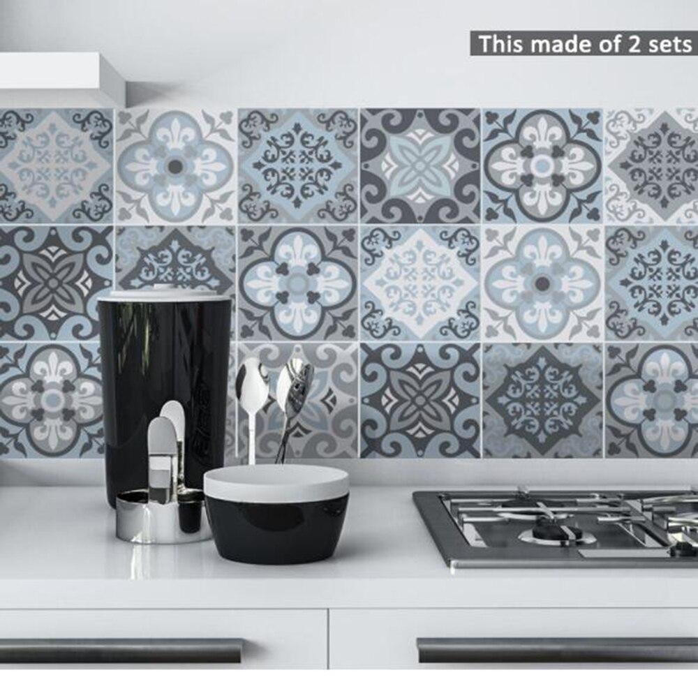 Bedroom Decor 15*15cm/20*20cm Blue&Grey Mediterranean Geometry DIY PVC Waterproof Self Adhesive Furniture Bathroom Tile Sticker