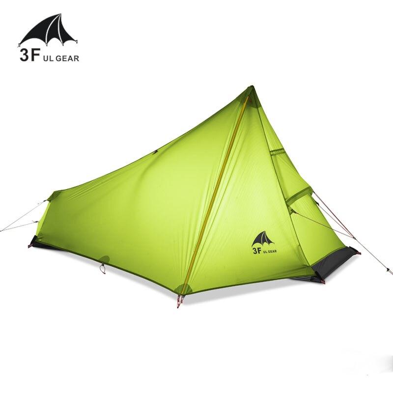 3F UL передача 740 г Oudoor Сверхлегкий Палатка 3 сезон 1 один человек профессиональный 15D нейлон силиконовое покрытие бесштоковый палатка
