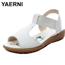 YAERNI Flat Breif Women Sandals Genuine Leather Open Toe Summer Shoes Women's Nurse Shoes Plus Size Sandals 34-43 White Black