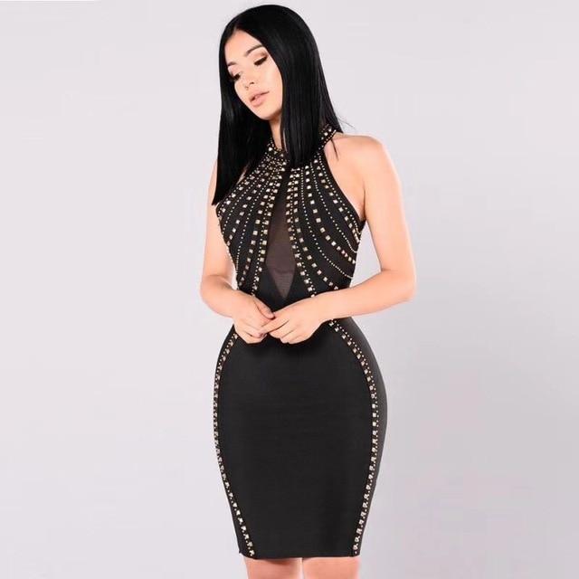 New Arrival Women Sexy Studded Black White Rayon Bodycon Bandage Dress 2017  Designer Backless Elegant Celebrity Party Dress