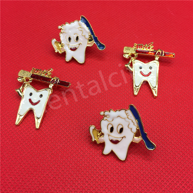 Dental Gift Simle Badge Dental Clinic Gift Metal Tooth Type Shape Molar Brooch Badge Dentist Hygienist Pin Accessories Adornment