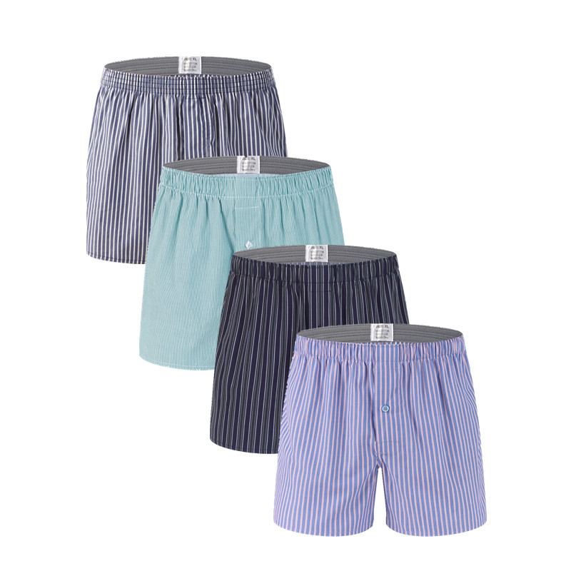 New 4 Pack Classic Striped Men's Boxers Homme Arrow Panties Boxer Elastic Waistband 100% Cotton Mens Underwear Trunks Woven